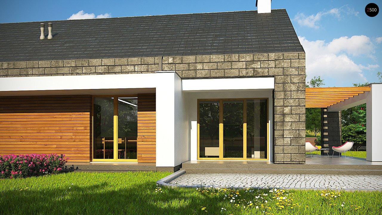 Современный дом с двускатной крышей на узком участке - фото 8