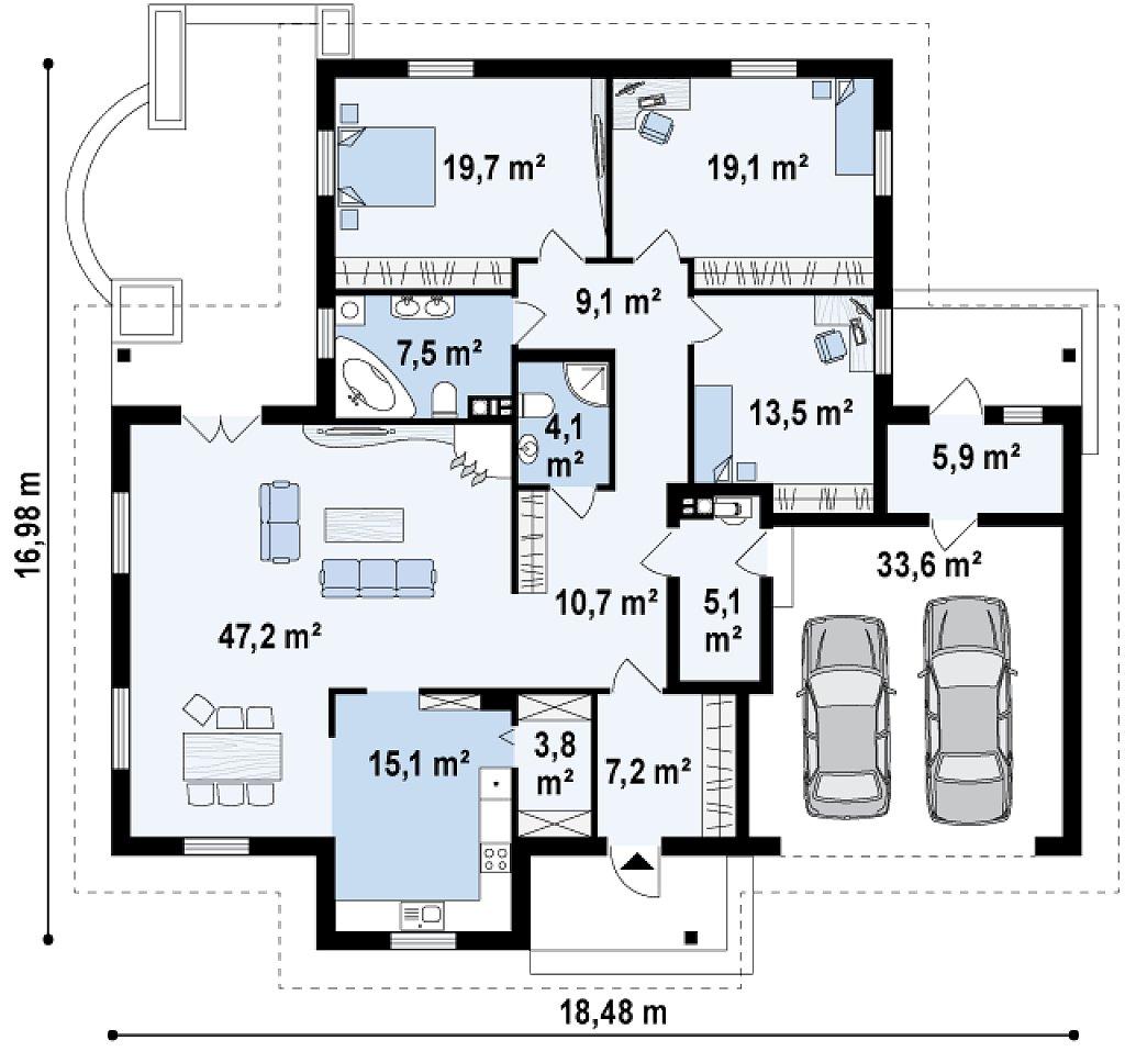 Просторный комфортный одноэтажный дом с гаражом для двух машин. план помещений 1