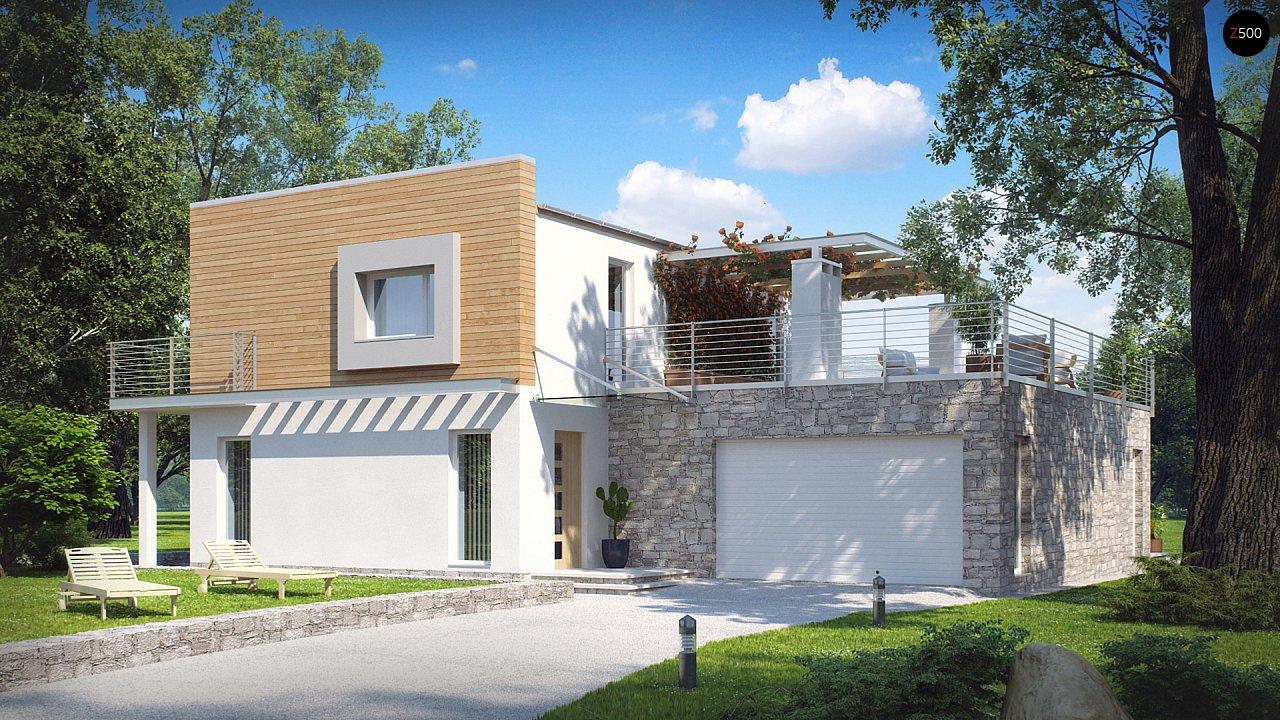 Оригинальный дом в современном стиле с обширной террасой над гаражом. - фото 1