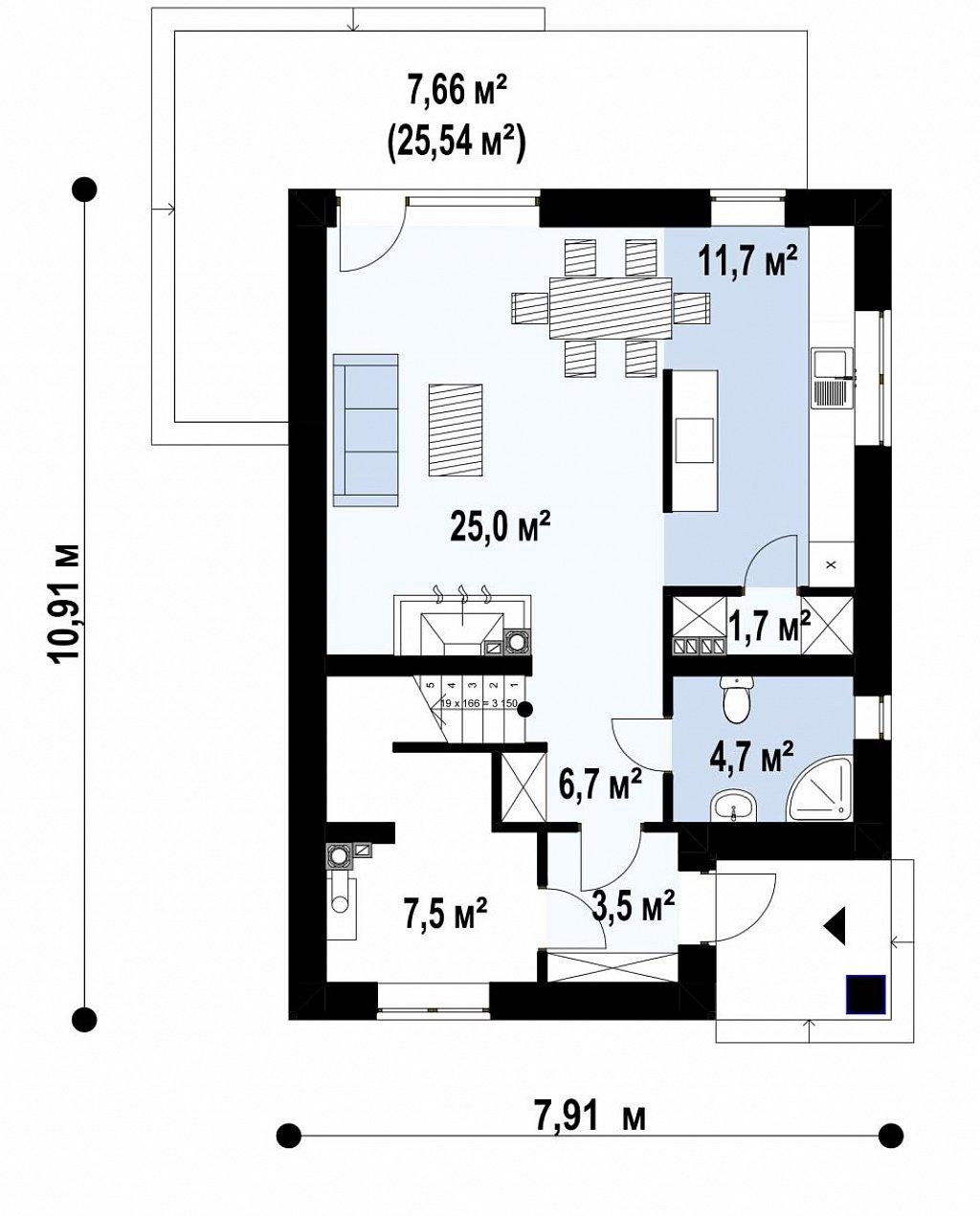 Компактный проект двухэтажного дома план помещений 1