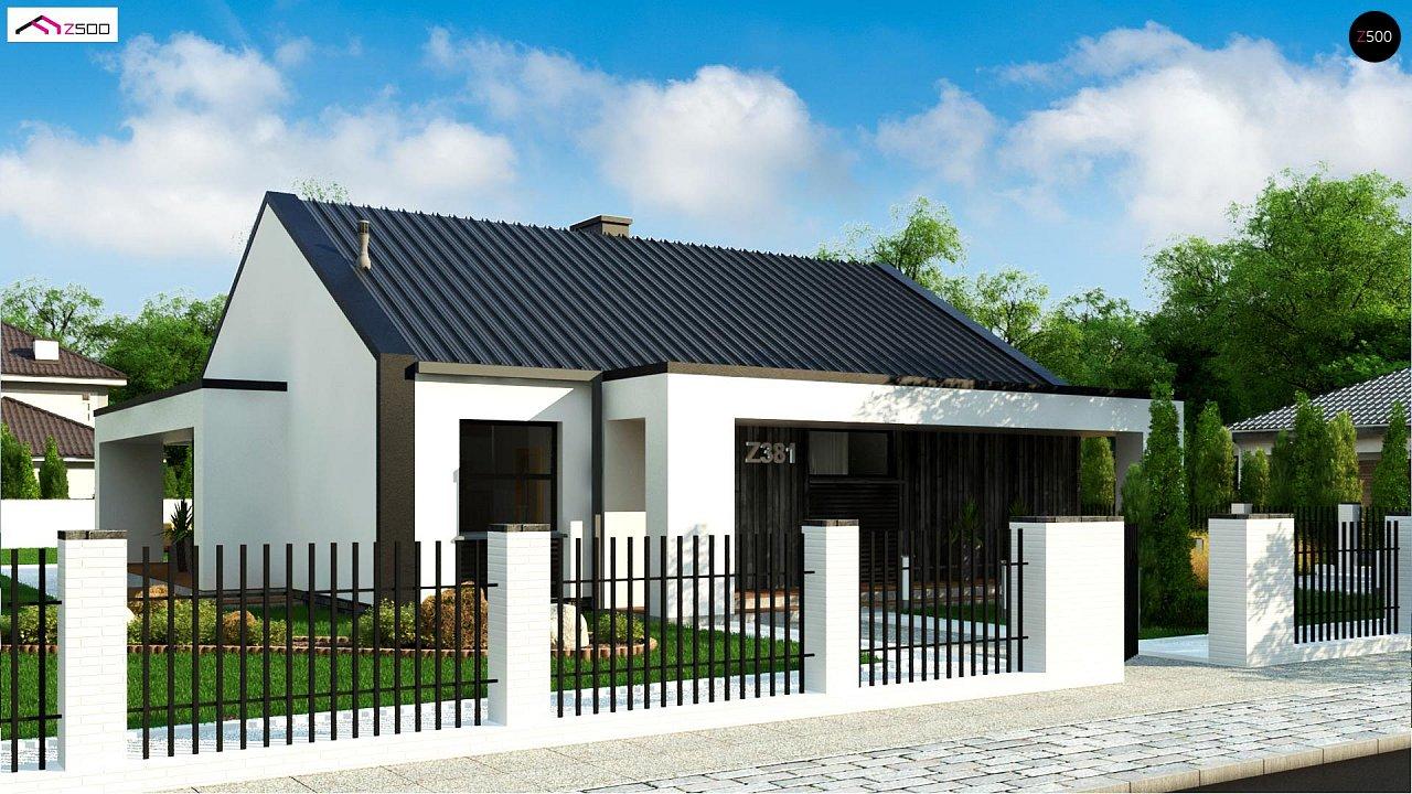 Компактный одноэтажный дом с двускатной крышей и 3 спальнями 2