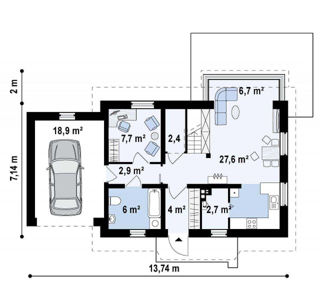 Уютный дом с террасой над гаражом, с возможностью обустройства зимнего сада. план помещений 1
