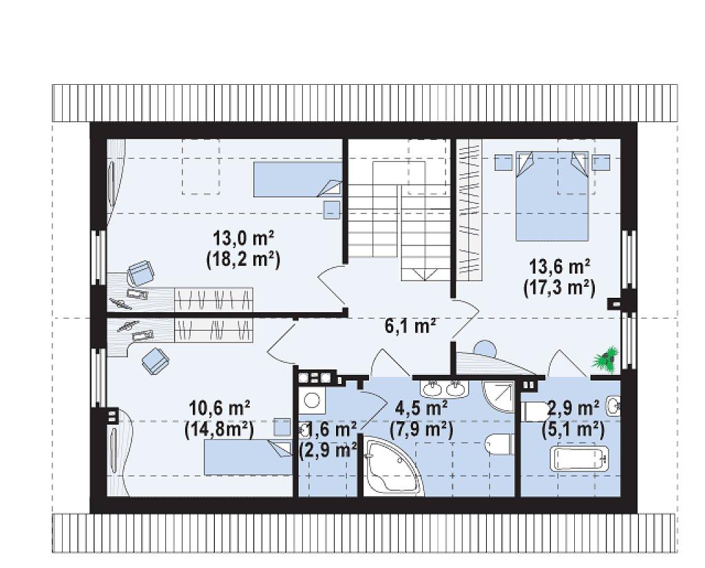 Проект простого и аккуратного дома с дополнительной ночной зоной на первом этаже. план помещений 2