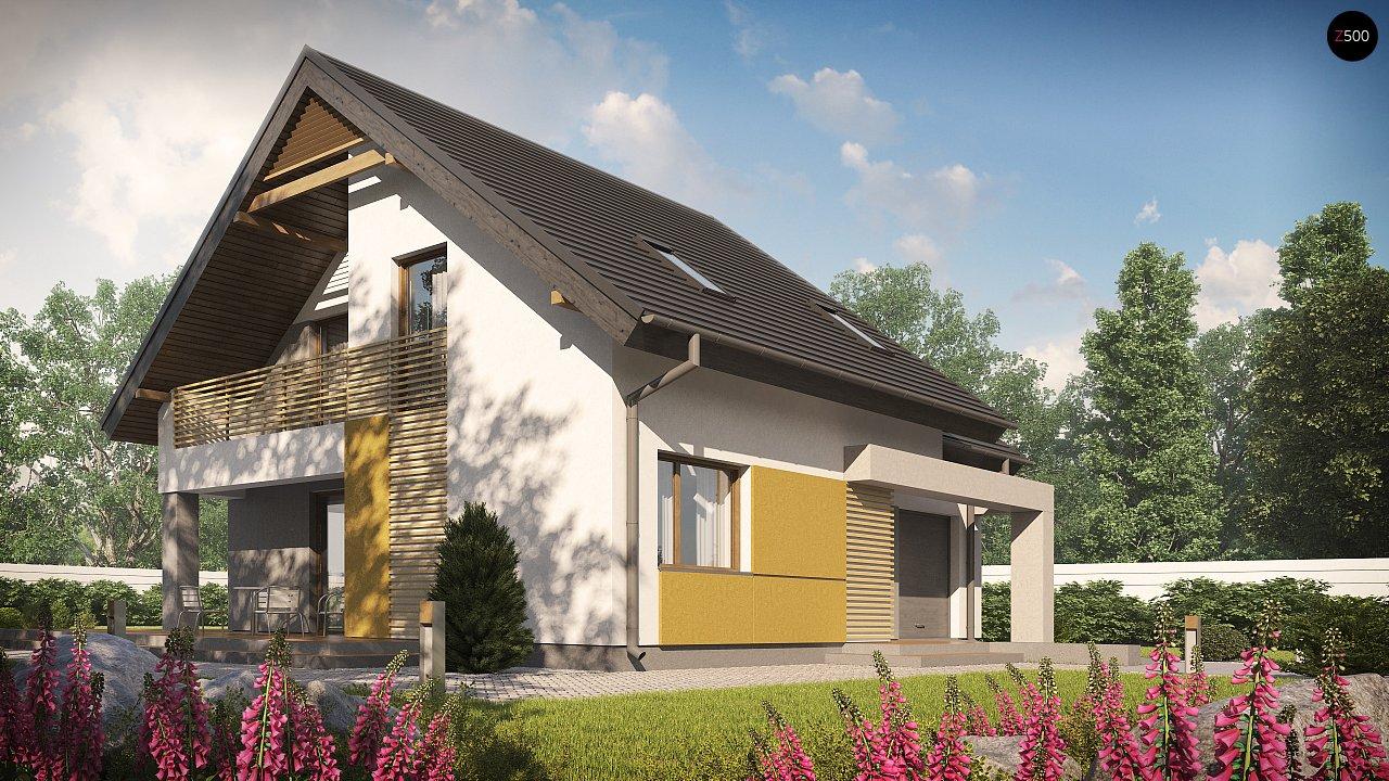 Проект аккуратного мансардного дома, с современным дизайном фасадов. 4