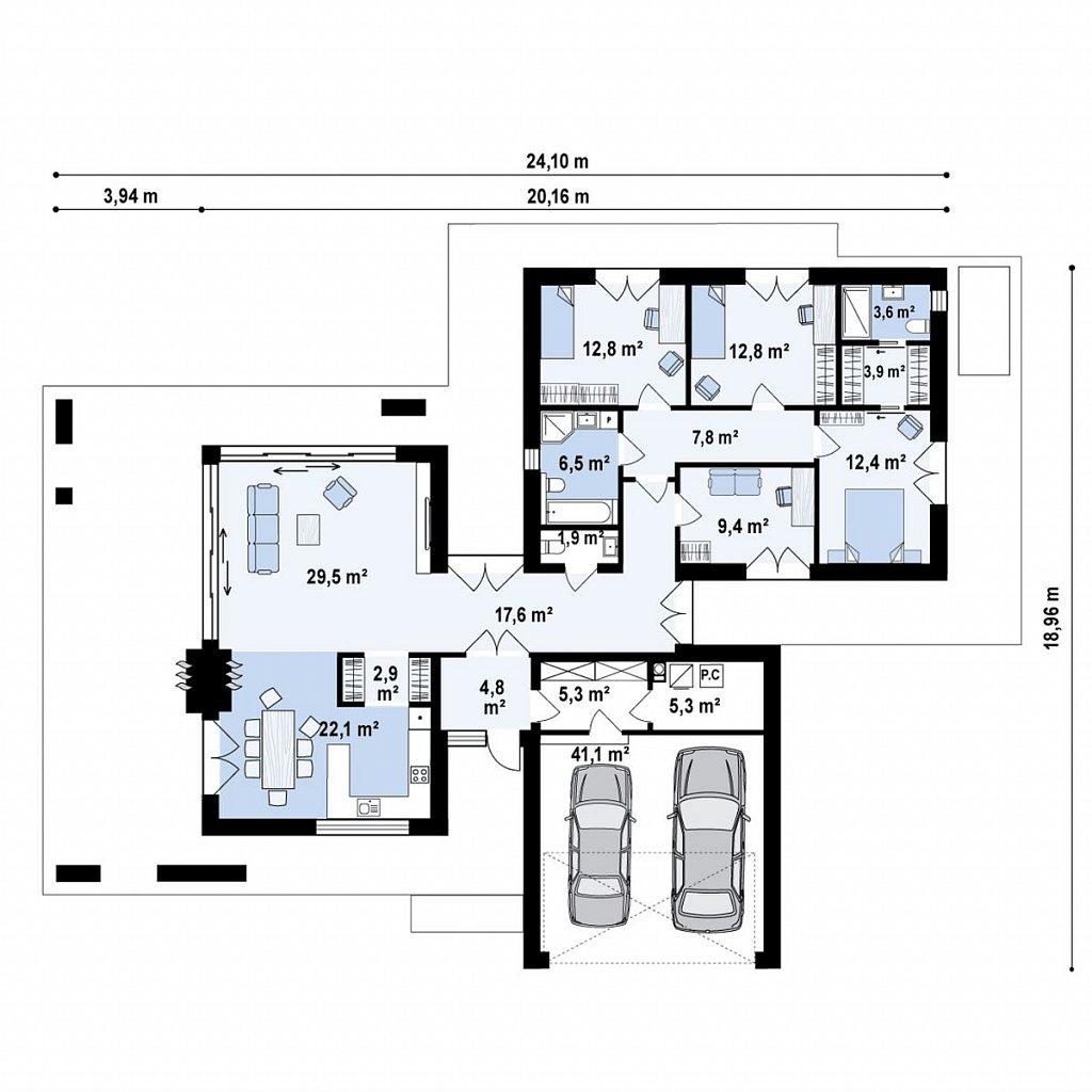 Современный одноэтажный дом с внешним камином план помещений 1