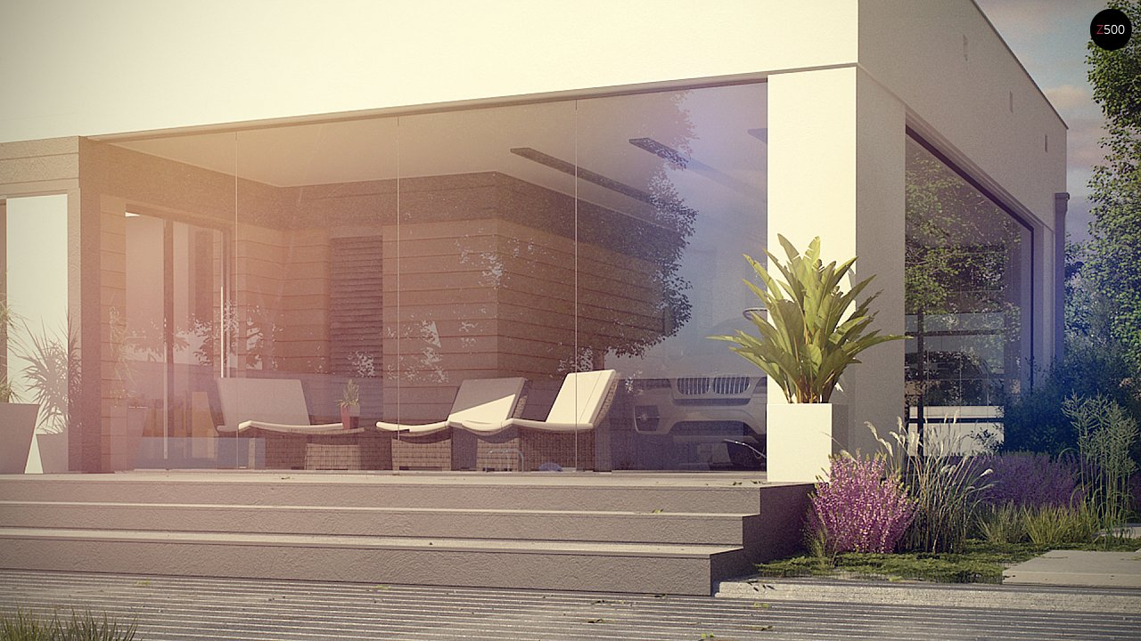 Современный одноэтажный дом хай-тек с навесом для автомобиля 10