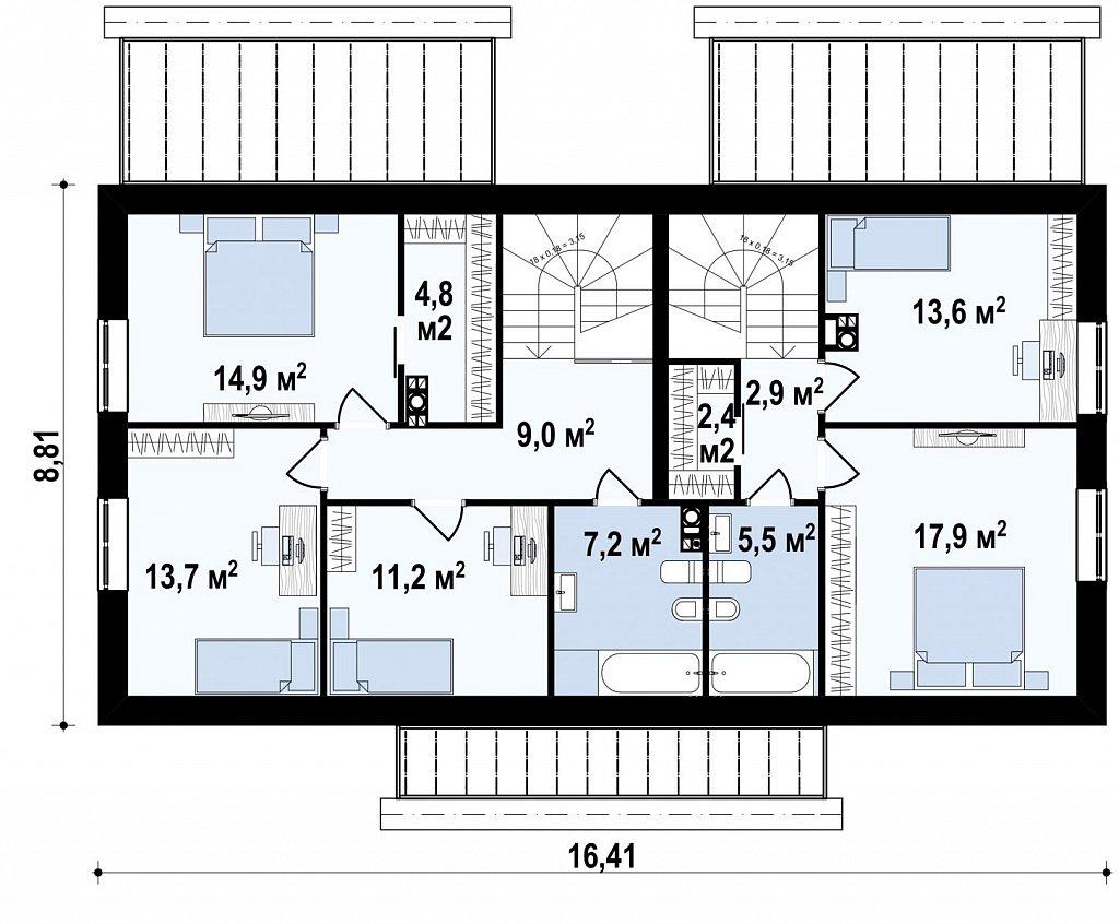 Стильный мансардный дом с двускатной кровлей план помещений 2