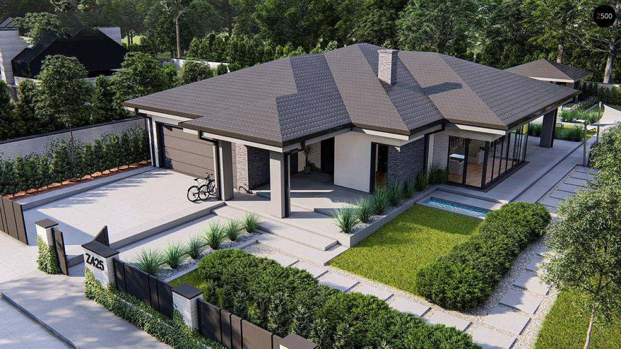 Cовременный одноэтажный дом с многоскатной крышей и гаражом на две машины. 8