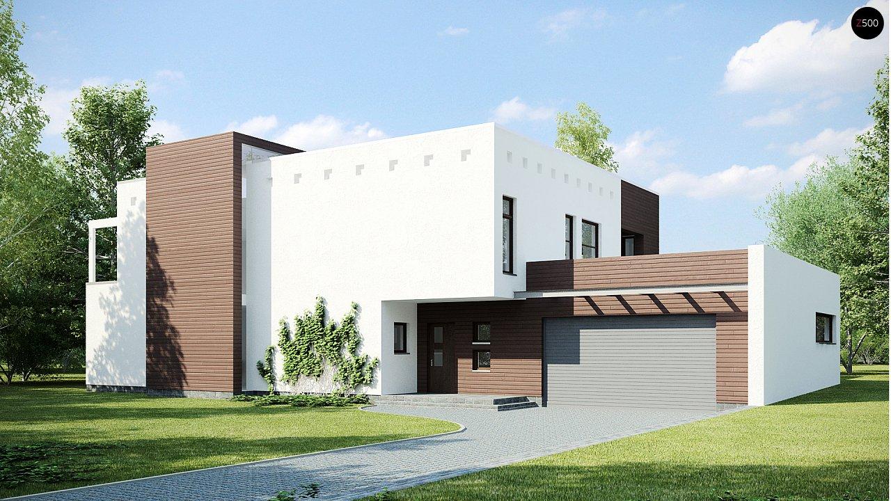Современный дом кубической формы с террасой над гаражом. - фото 1