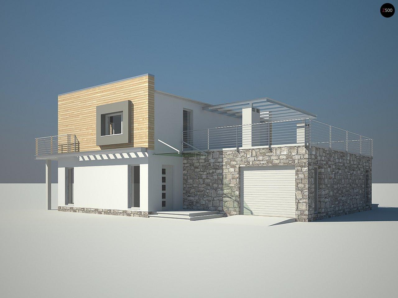 Оригинальный дом в современном стиле с обширной террасой над гаражом. - фото 3