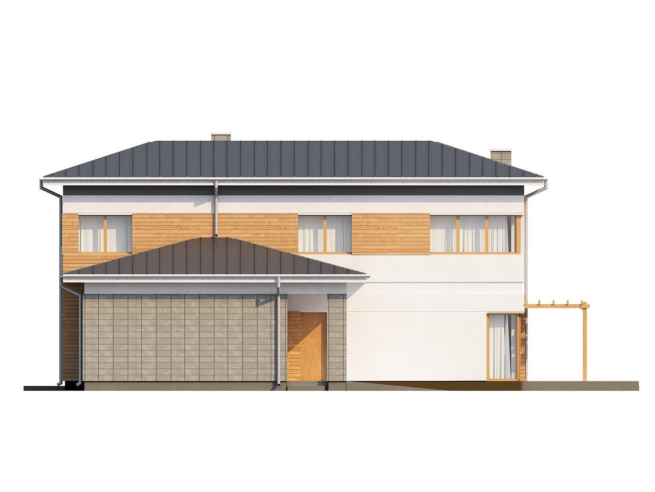 Проект удобного двухэтажного дома в стиле модерн с боковым гаражом. 4