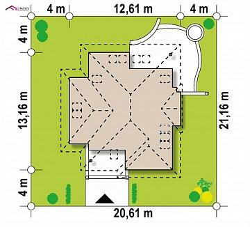 Вариант мансардного дома Z48 без гаража план помещений 1