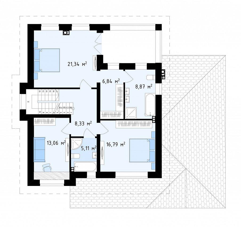 Просторный проект двухэтажного дома с удобной планировкой. план помещений 2