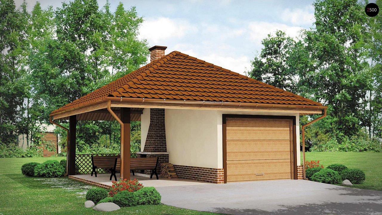 Проект гаража для одного автомобиля, для коттеджей традиционного дизайна 2