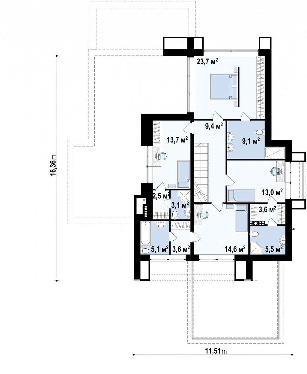 Просторный коттедж с цокольным этажом, подойдет для участка со склоном план помещений 2