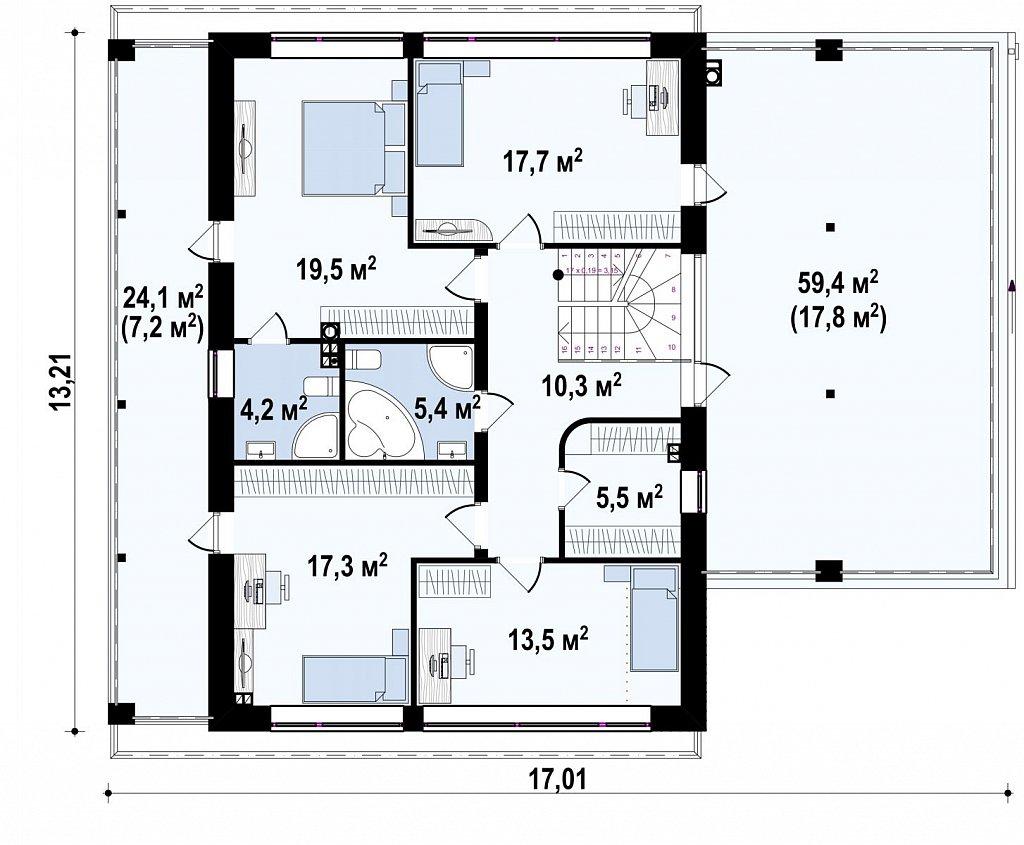Практичный двухэтажный дом в современном стиле с обширной террасой над гаражом. план помещений 2