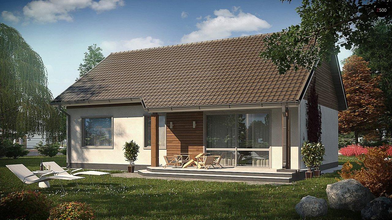 Проект небольшого одноэтажного дома в европейском стиле с двускатной кровлей. 2
