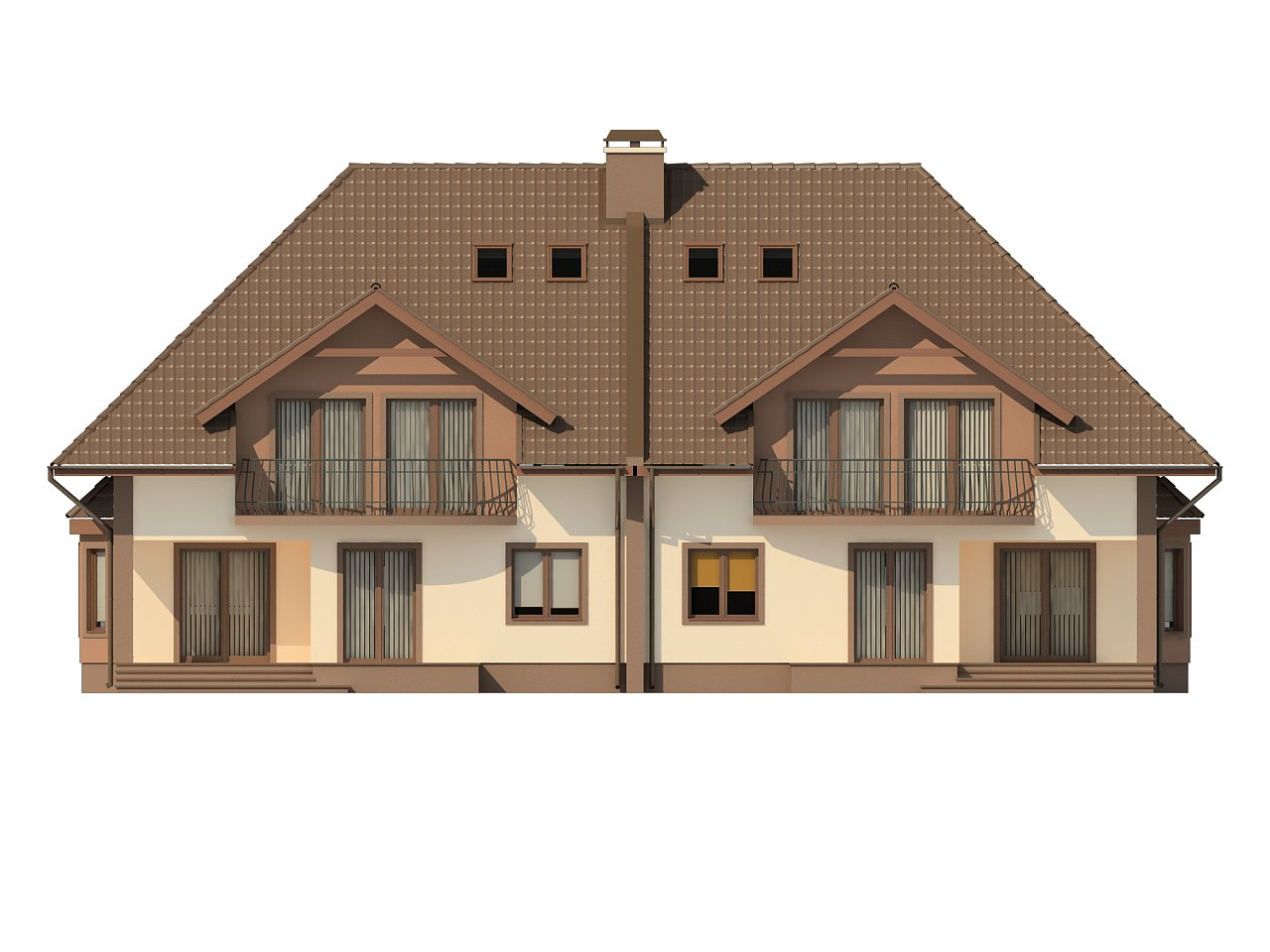 Проект домов близнецов с гаражом и дополнительным помещением на чердаке. 6
