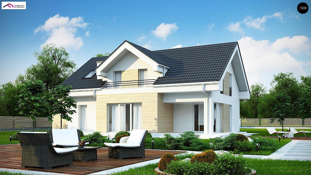 Проект мансардного дома в европейском стиле с балконом. - фото 1