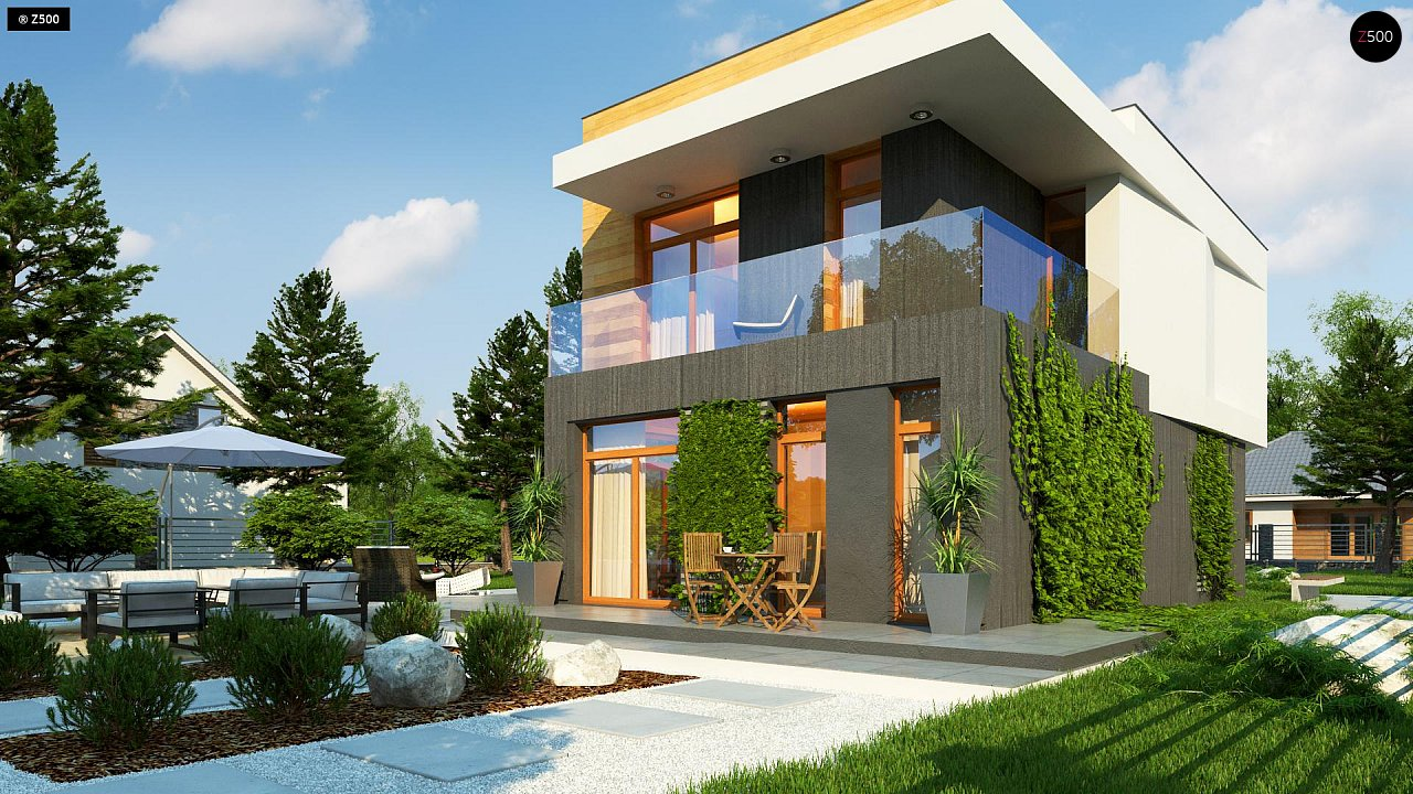Проект двухэтажного дома в стиле кубизм, подходит для строительства на узком участке. - фото 4