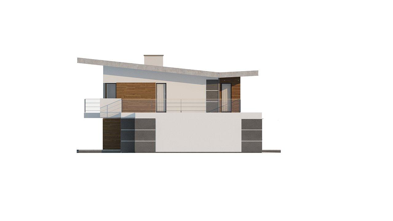 Современный двухэтажный дом с гаражом и террасой, спальней на первом этаже и ванной комнатой 22