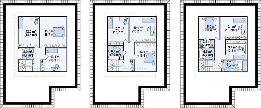 Просторный одноэтажный дом с многоскатной крышей, угловым окном и угловой террасой в дневной зоне. план помещений 2