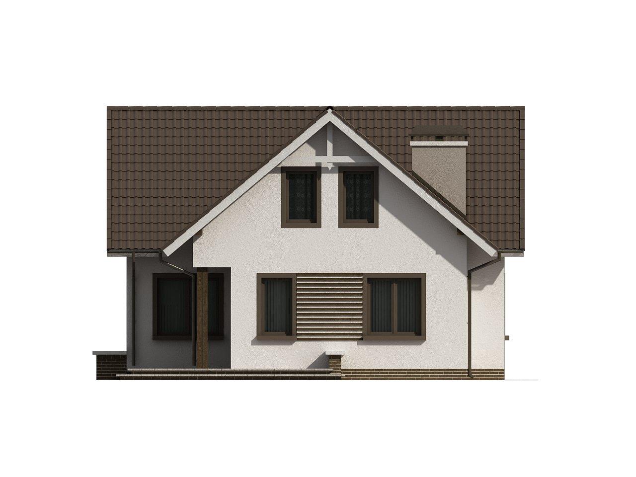 Простой в строительстве дом с балконом над входом. 8