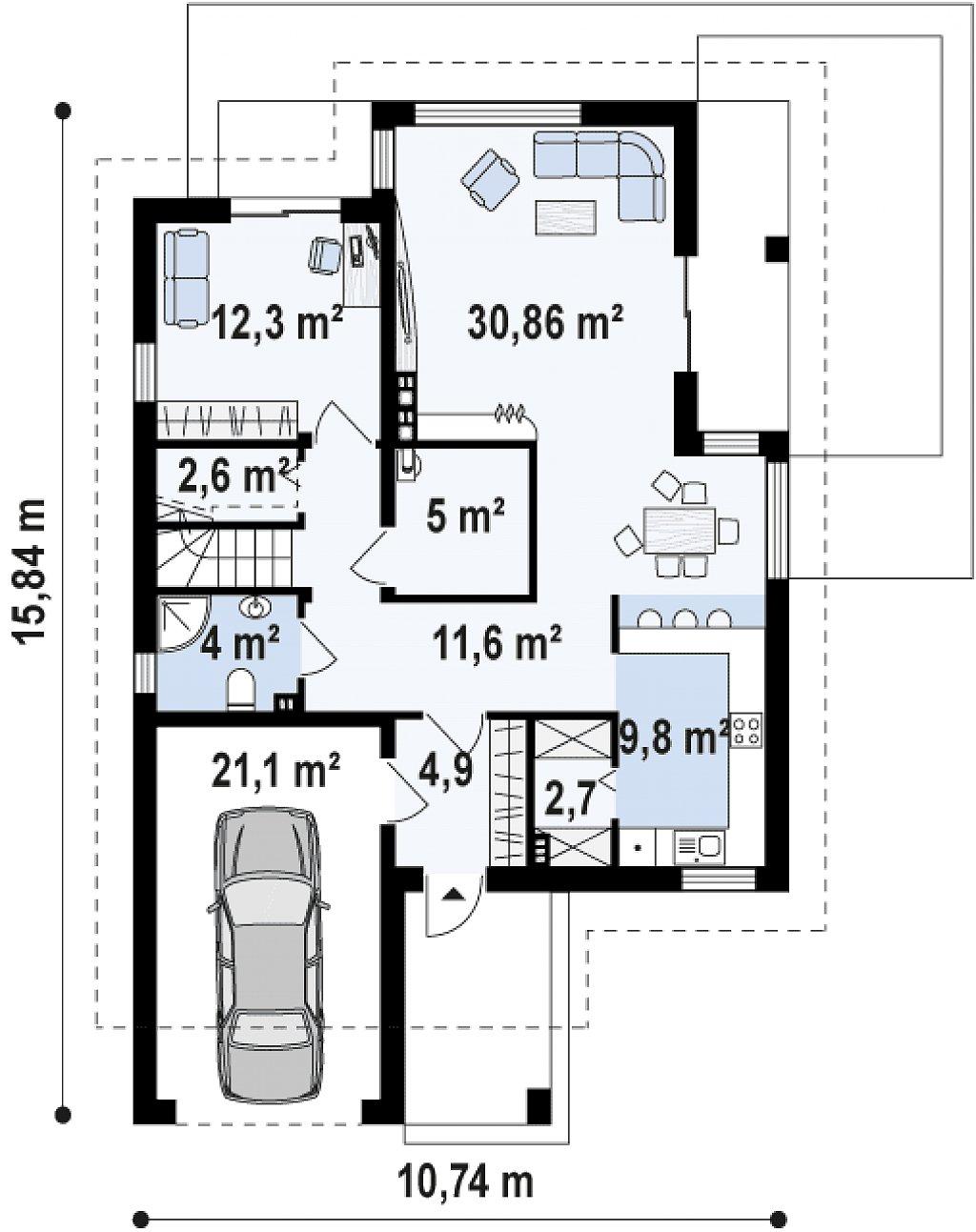 Необычные мансардные окна, фронтальный гараж и современные фасады выделяют этот проект среди остальных. план помещений 1