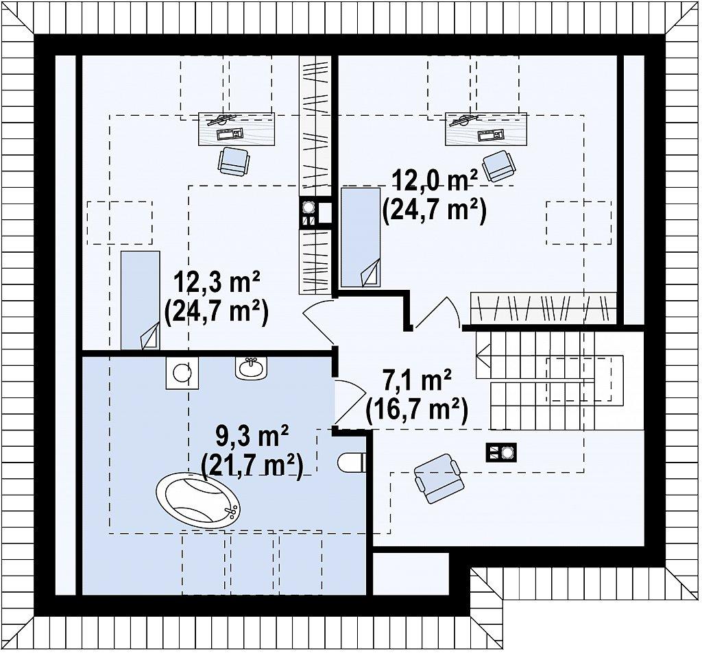Удобный функциональный дом с двумя дополнительными комнатами на первом этаже. план помещений 2