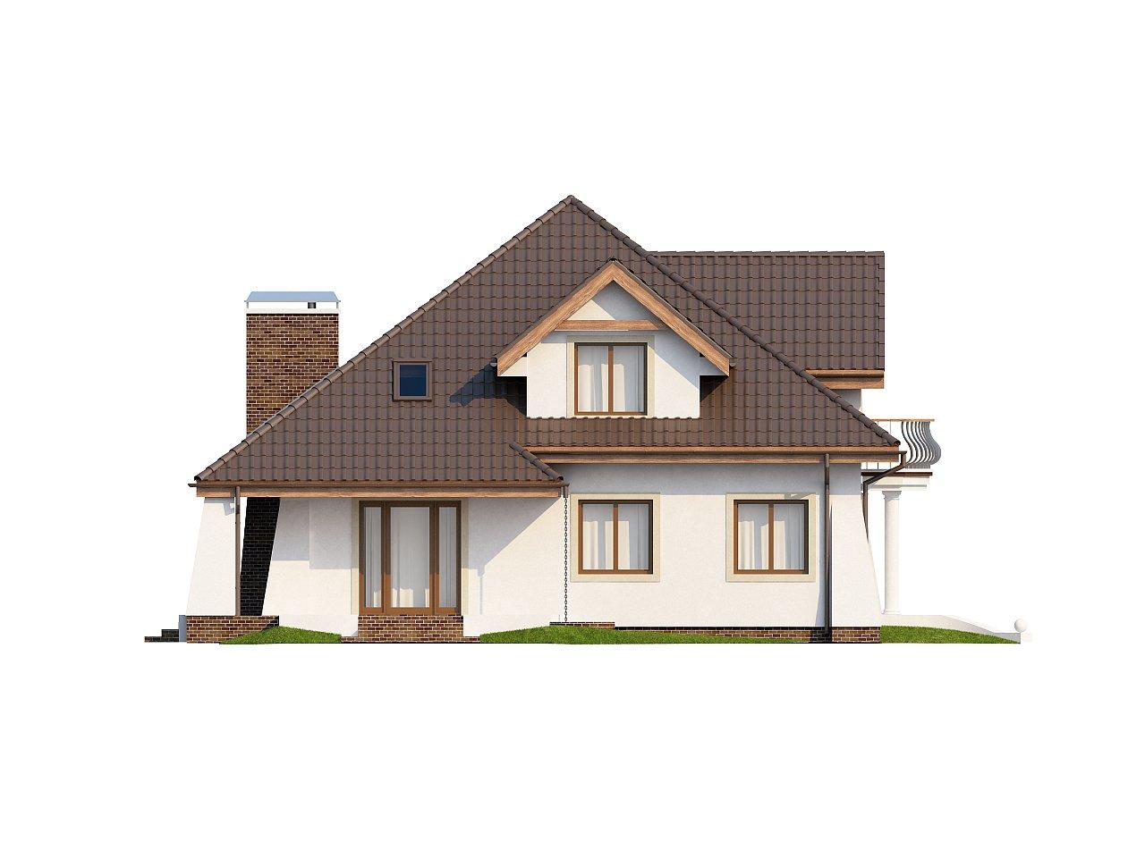 Удобный дом в классическом стиле с красивыми мансардными окнами и балконом. 5