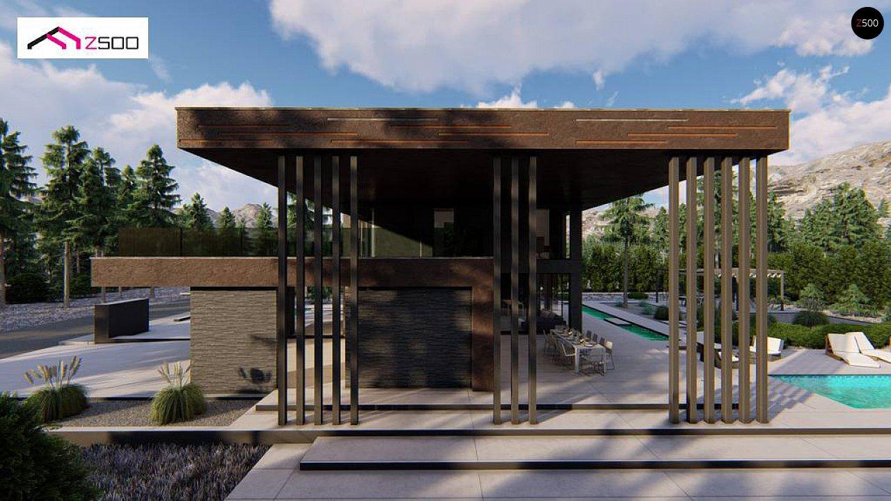 Современный двухэтажный дом с плоской кровлей и навесом для автомобиля - фото 8