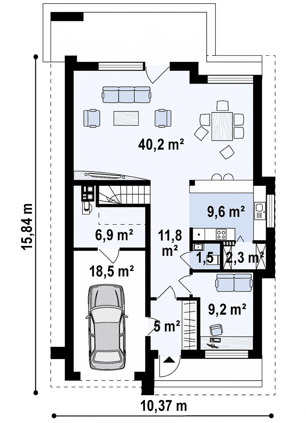 Проект классического мансардного дома с монохромным дизайном экстерьера план помещений 1