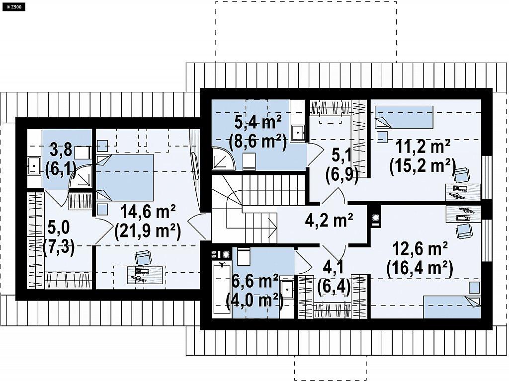 Аккуратный мансардный дом с гаражом для двух автомобилей план помещений 2