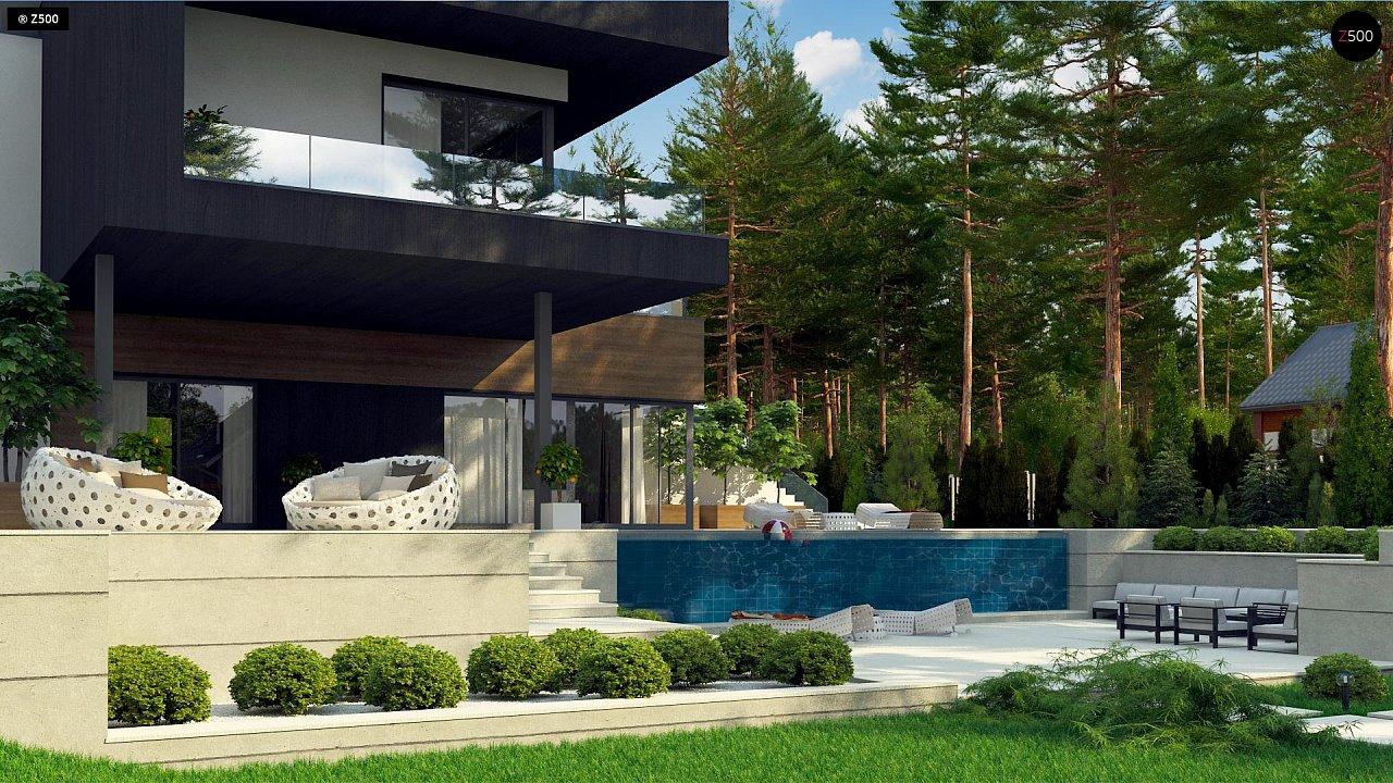 Проект современного двухэтажного дома. Проект подойдет для строительства на участке со склоном. - фото 5