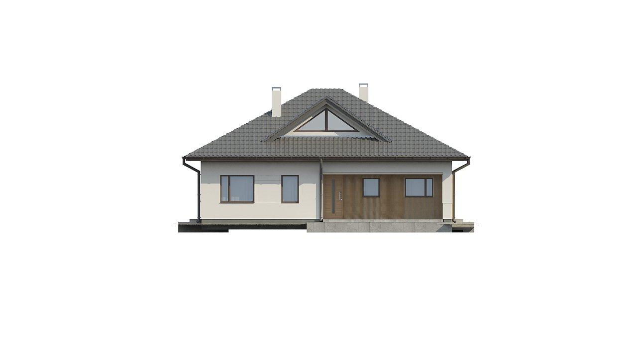 Проект комфортного одноэтажного дома с оригинальными фасадными окнами на чердаке. 16