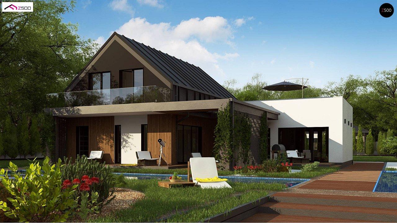 Современный дом с большой террасой и балконом на первом этаже и просторной гостиной - фото 2
