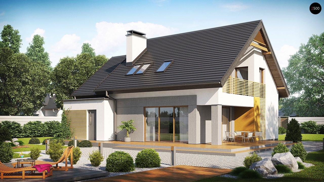 Проект аккуратного мансардного дома, с современным дизайном фасадов. 2