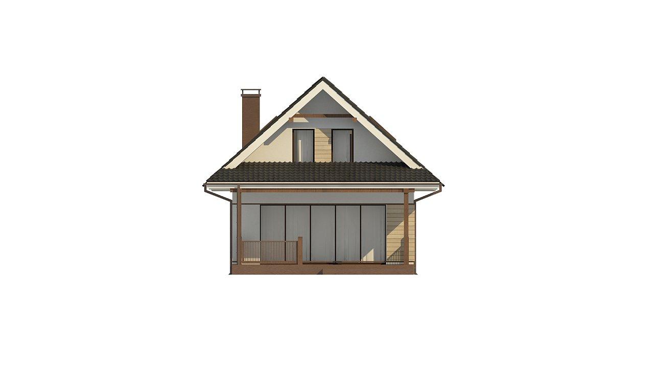 Небольшой мансардный дом с верандой, подойдет для строительства на узком участке. - фото 10