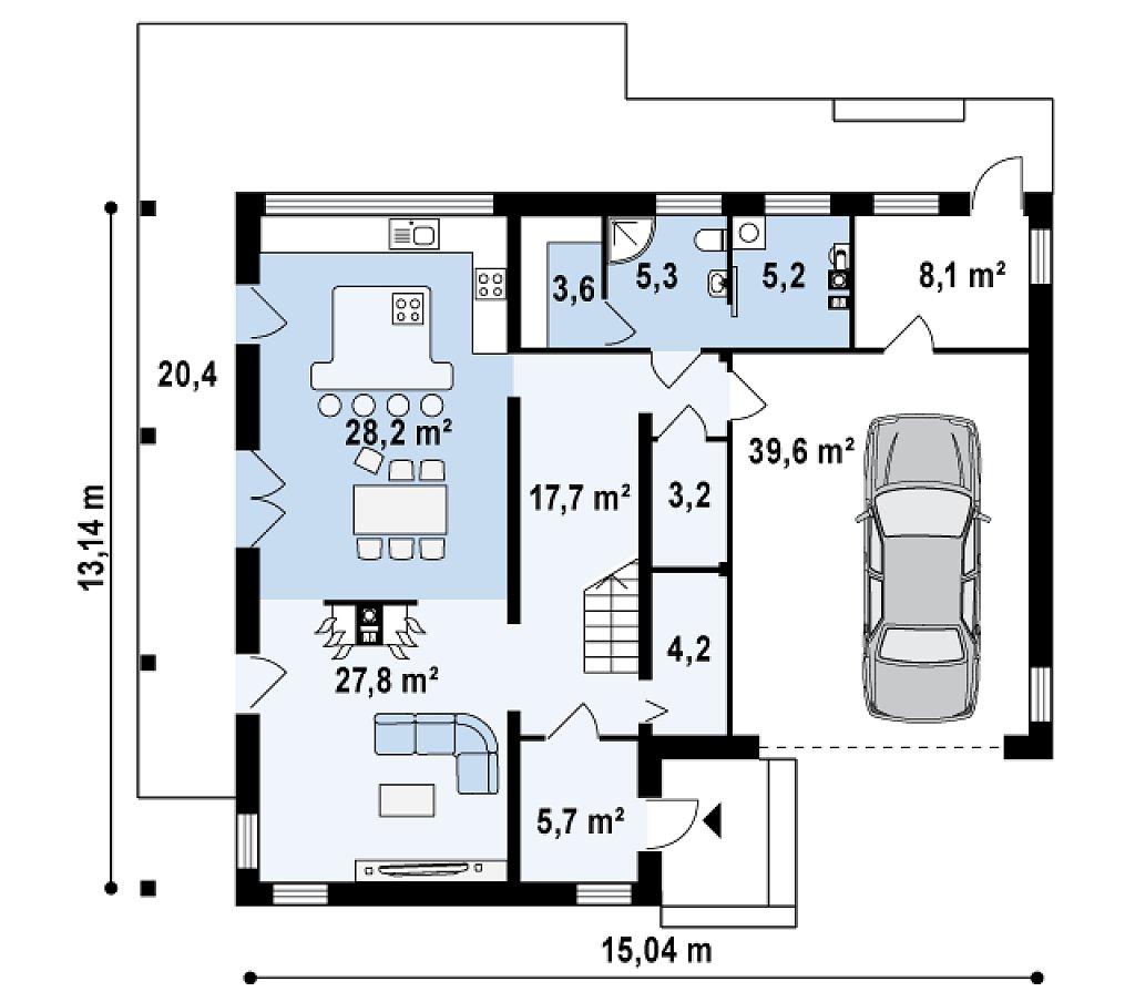 Оригинальный дом в современном стиле с обширной террасой над гаражом. план помещений 1