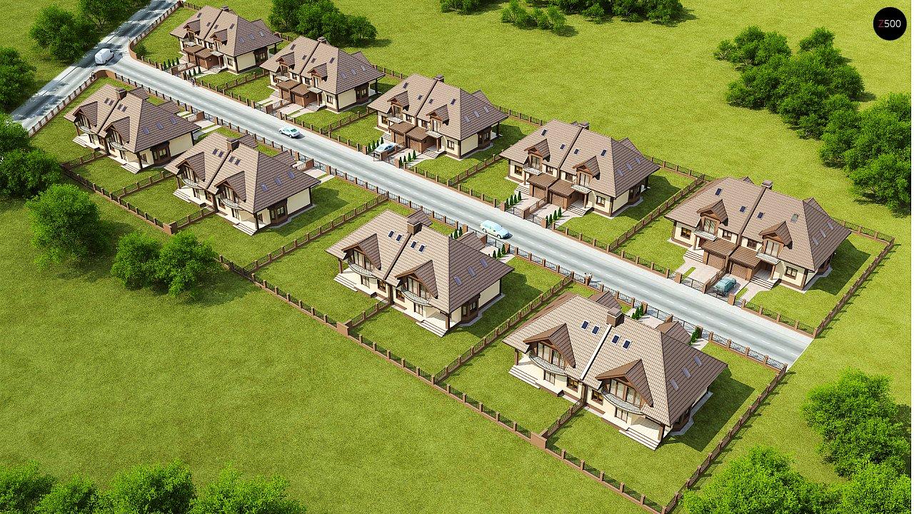 Проект домов близнецов с гаражом и дополнительным помещением на чердаке. 3