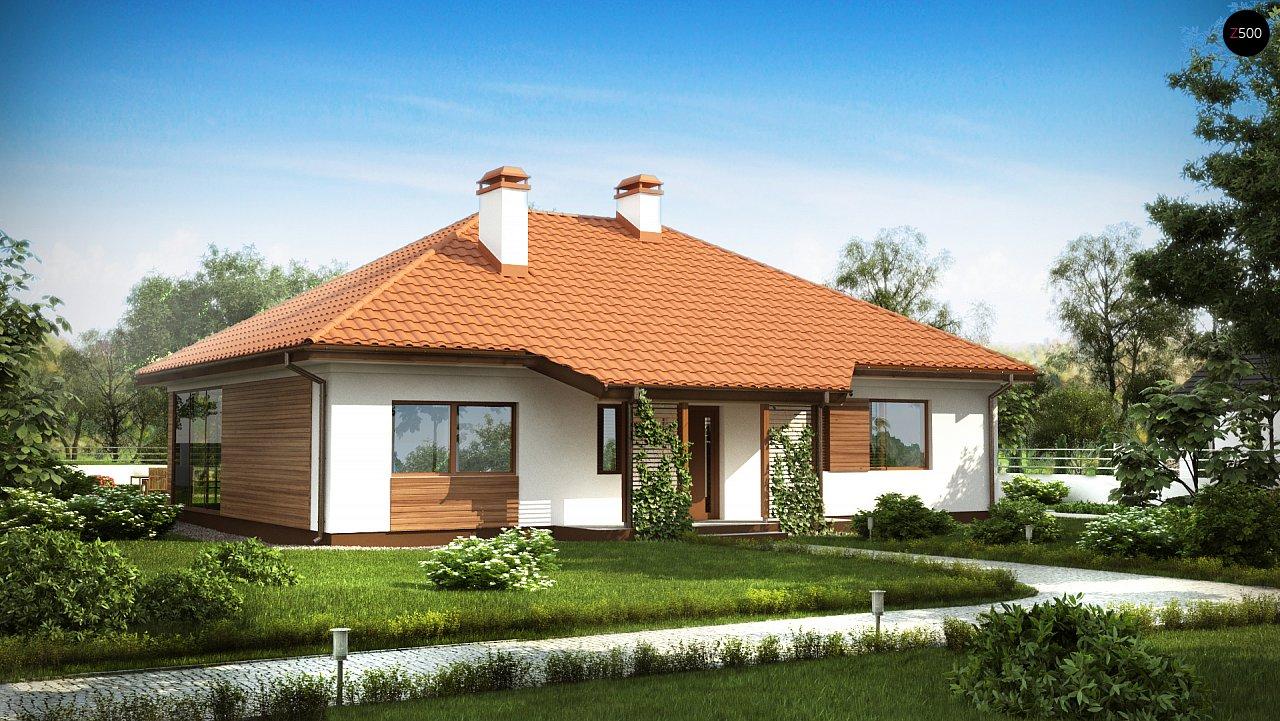 Традиционный одноэтажный дом с крытой террасой и оранжереей. 1