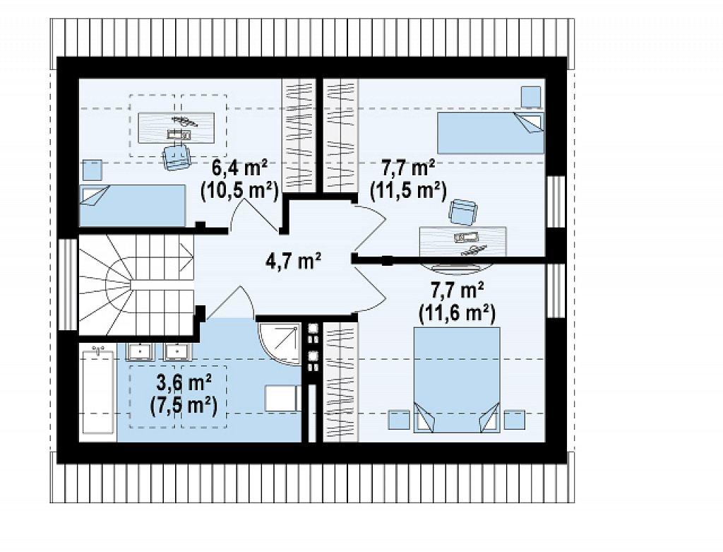 Дом с мансардным этажом, адаптированный для сейсмоопасных регионов. план помещений 2