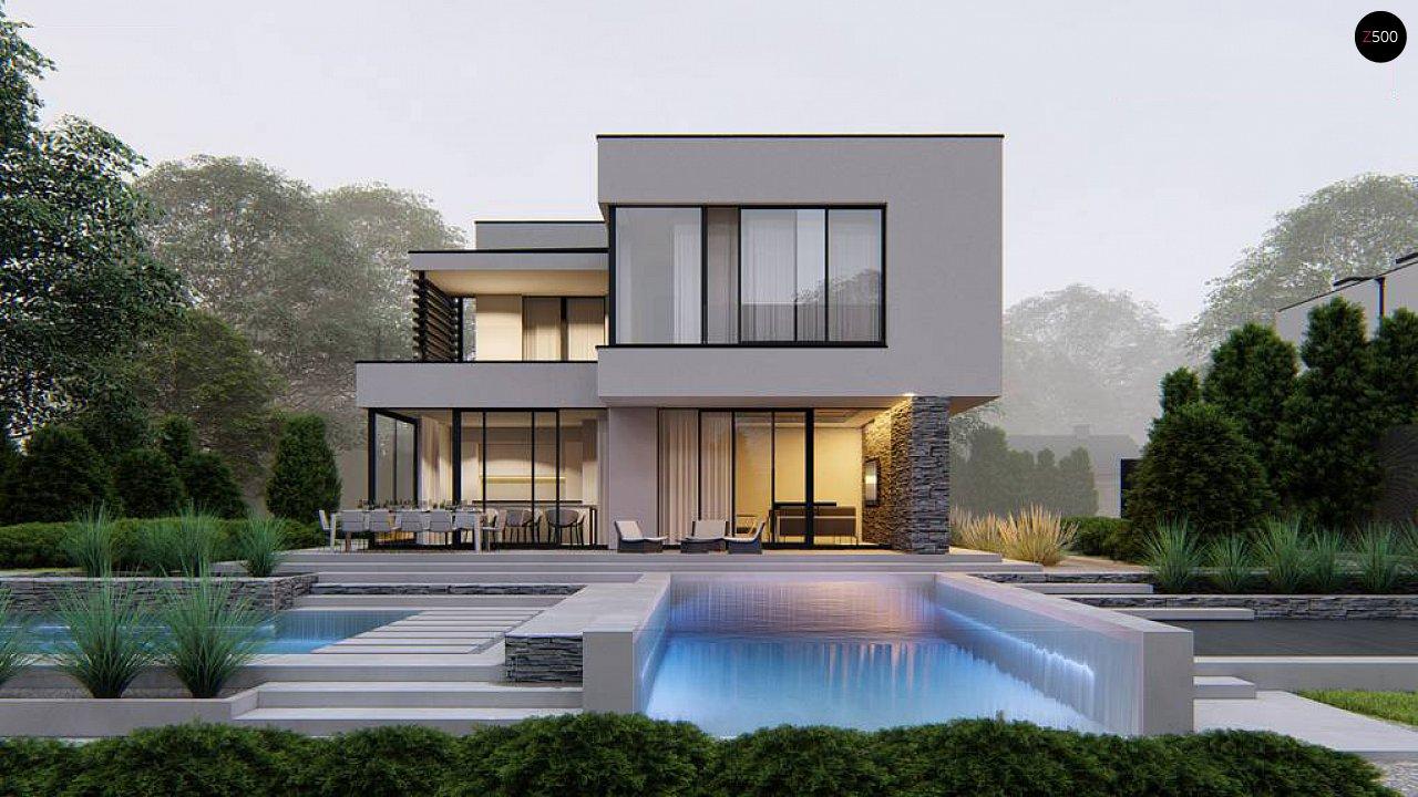 Двухэтажный проект дома для семьи из 4 человек с современным дизайном и навесом для машины 3