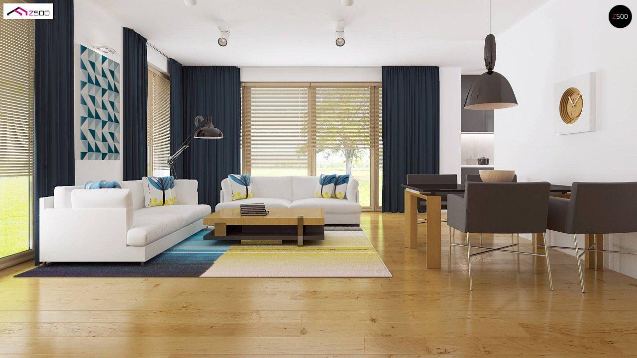 Современный функциональный дом с большой площадью остекления в гостиной. 10