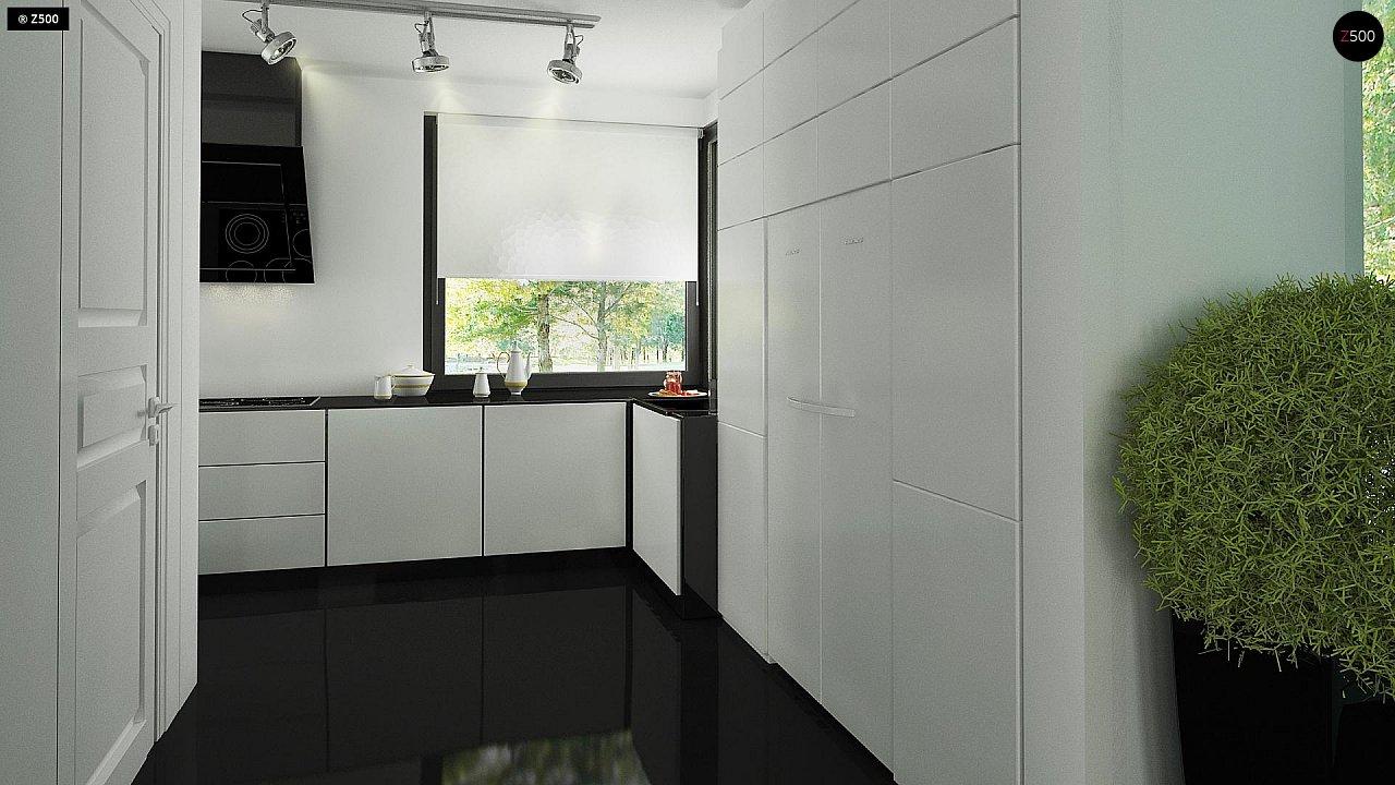 Современный двухэтажный дом с гаражом и террасой, спальней на первом этаже и ванной комнатой 15