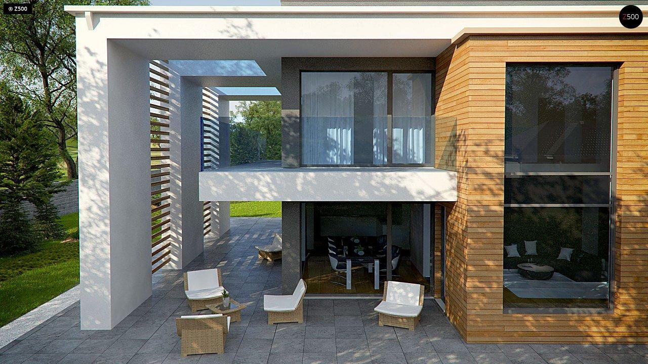 Современный двухэтажный дом с большим остеклением и гаражом на две машины 4