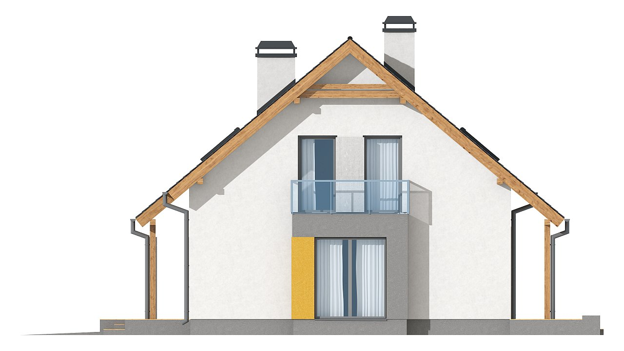 Версия проекта Z92 c гаражом, пристроенным слева и дополнительным помещением над ним 14