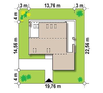 Проект дома с мансардой, террасой на первом этаже и гаражом на одну машину. план помещений 1