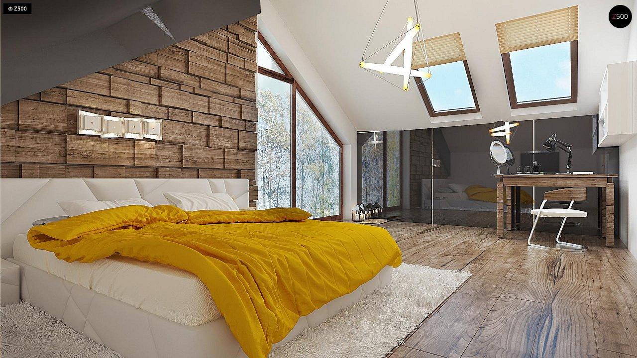 Необычные мансардные окна, фронтальный гараж и современные фасады выделяют этот проект среди остальных. 11
