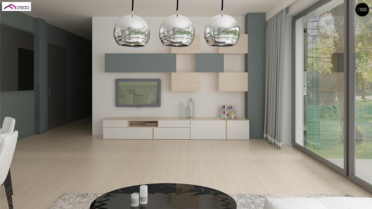 Проект одноэтажного дома Z390 с гаражом на 1 машину и красивым белым фасадом 9